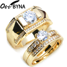 Octbyna Stainless Steel Wedding Ring For Couples Gold Color Crystal CZ Fine Rings Set Engagement Rings Jewelry Gift