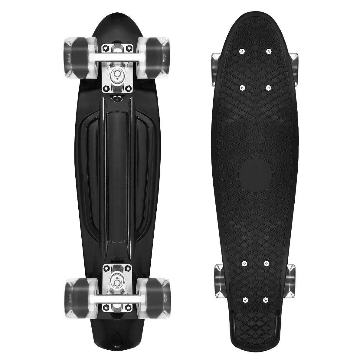 LED lumières 22 pouces Mini planche à roulettes en plastique planche à roulettes roue en polyuréthane Cruiser complet Skateboard Sports enfants enfants cadeaux noir