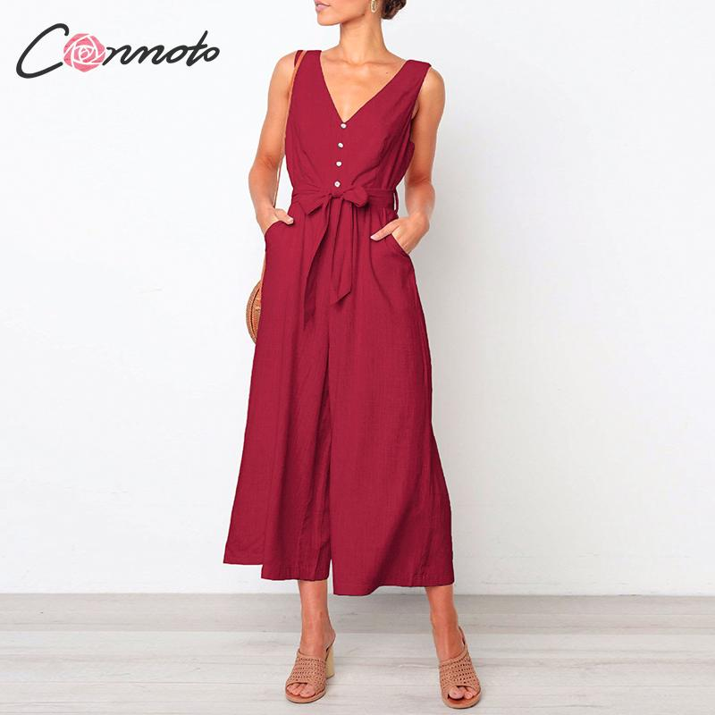 Conmoto 2019 Summer Casual Women   Jumpsuits   Beach Solid Red   Jumpsuit   Female Wide Leg Bow Romper