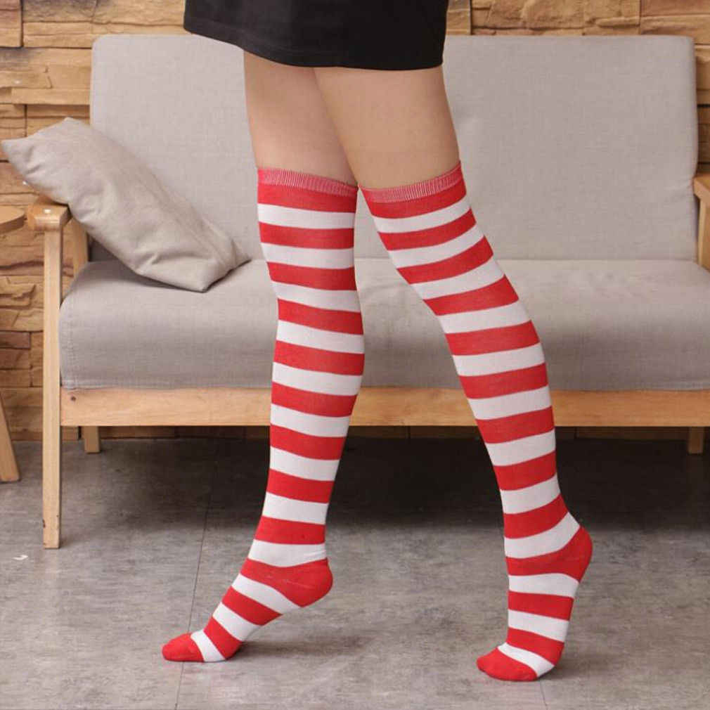 1ca66006c17 ... Vogue New Women Christmas Striped Stockings Red White Stripe Over Knee  High Socks Stockings Girls Lady ...