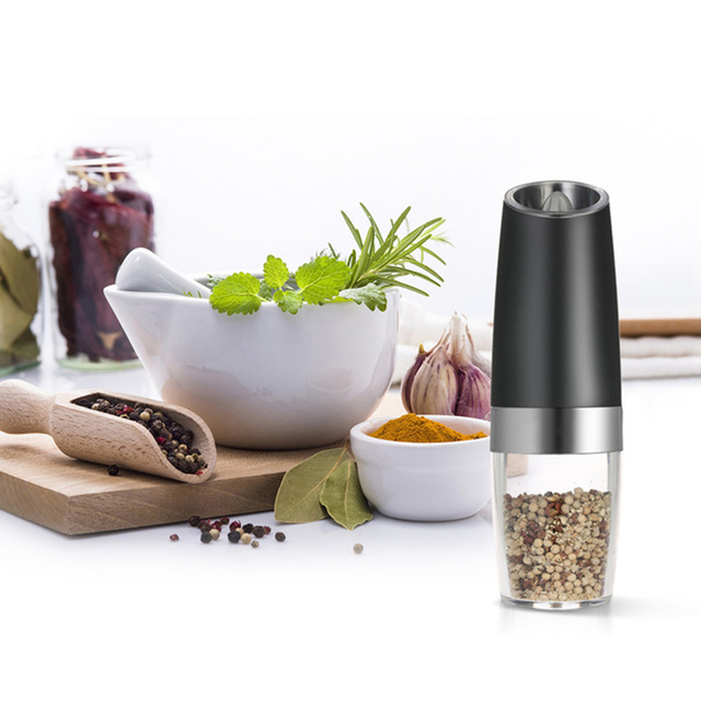 1pc Automatic Pepper Mills Grinder Creative LED Electric Black Pepper Salt Ceramic Mills Seasoning Spice Grinder Kitchen Gadgets 1