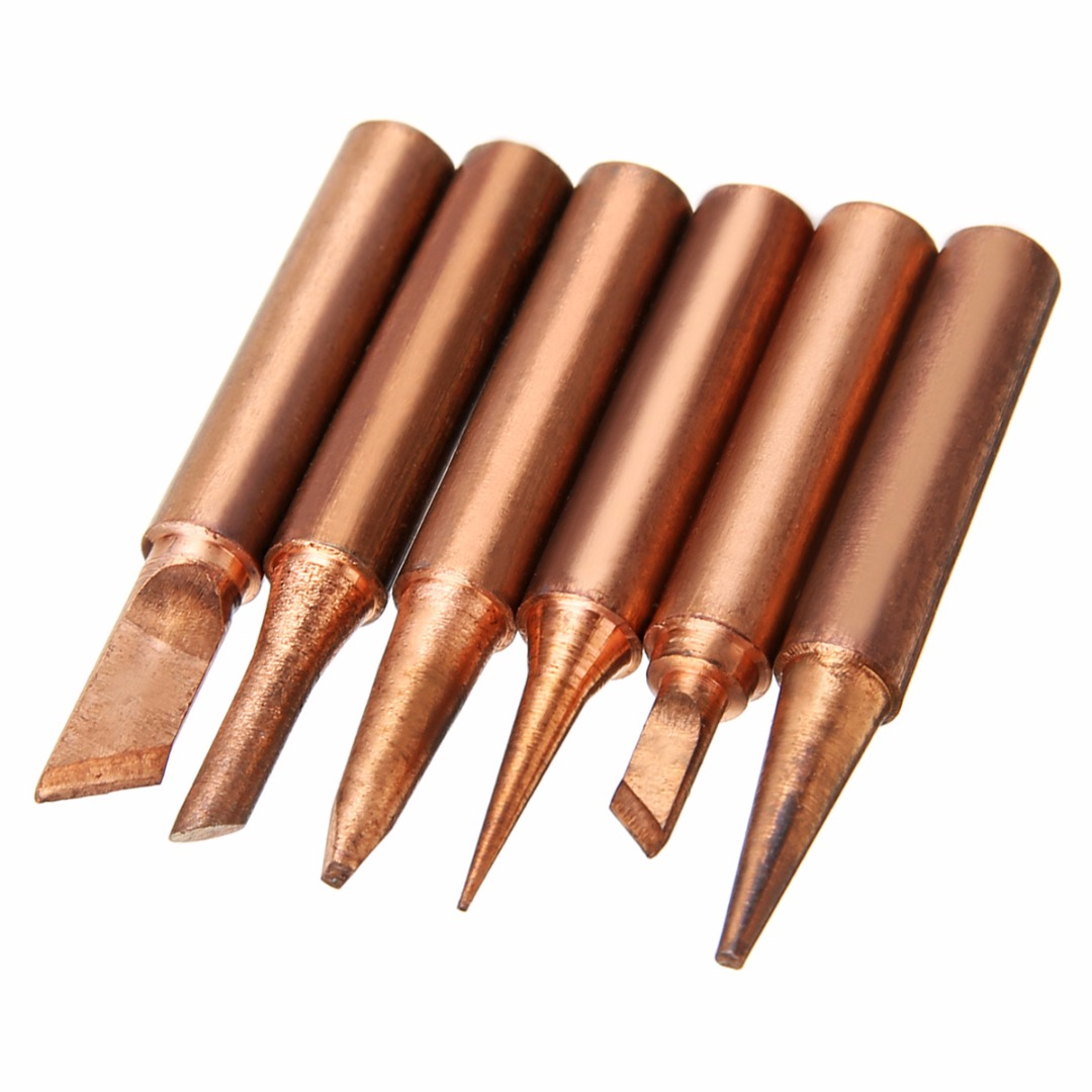6pcs 900M-T Pure Copper Iron Soldering Tip Solder For Rework Station Tool Kit