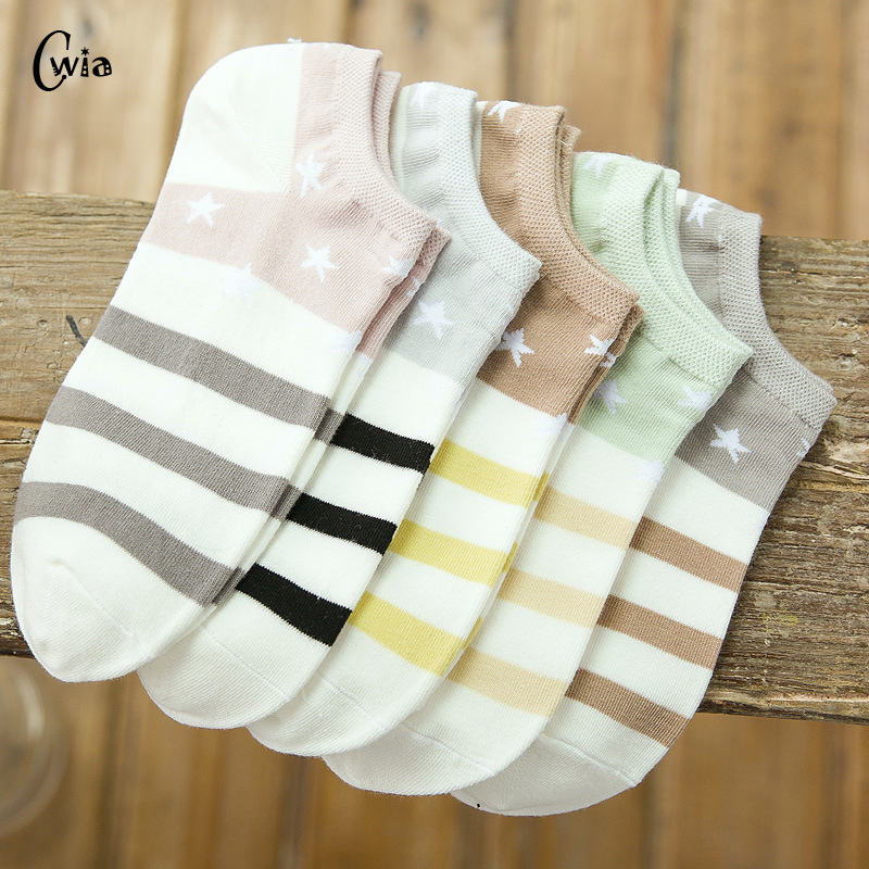 Cotton Boat Socks Woman Stars Stripe Socks Ankle Low Female Invisible Color Girl Boy Slipper Casual Hosiery  1pair=2pcs Ws106