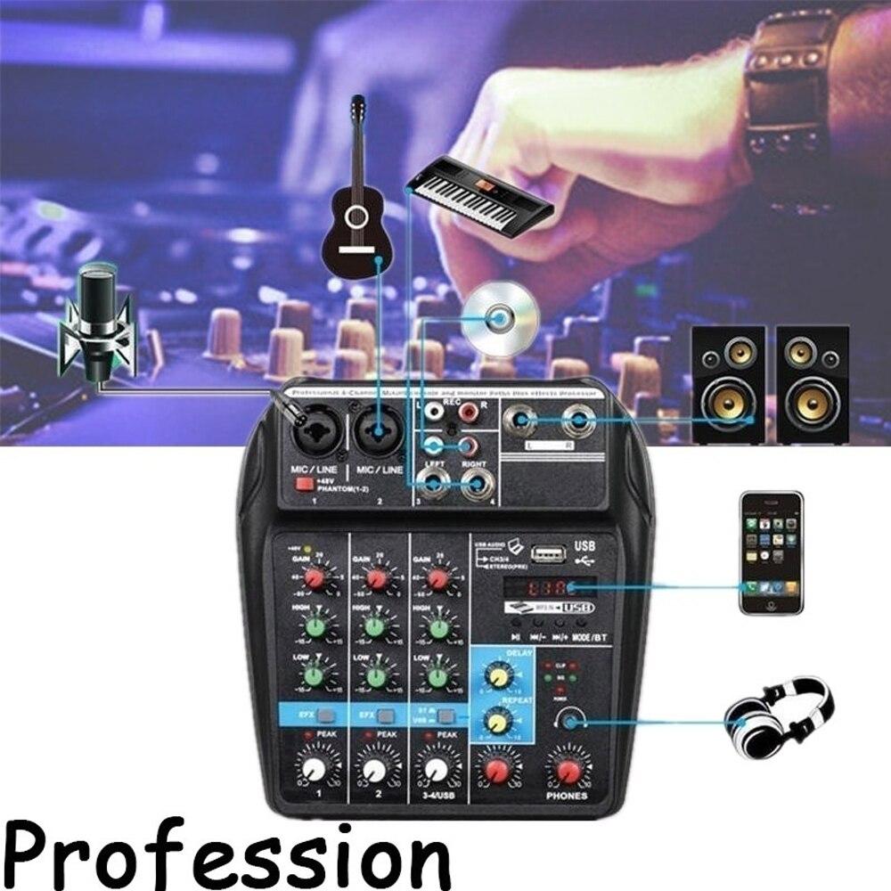 TU04 BT 4 Channels Sound Mixing Console Bluetooth Record 48V Phantom Power Monitor AUX Paths Plus Effects Audio Mixer with USBTU04 BT 4 Channels Sound Mixing Console Bluetooth Record 48V Phantom Power Monitor AUX Paths Plus Effects Audio Mixer with USB