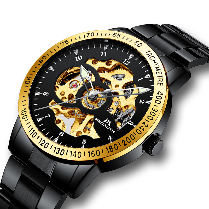 MEGALITH Luxury Gold Case Hollow Mechanical Watch Men Waterproof Automatic Military Sport Wrist Watch Male Relogio MasculinoMEGALITH Luxury Gold Case Hollow Mechanical Watch Men Waterproof Automatic Military Sport Wrist Watch Male Relogio Masculino