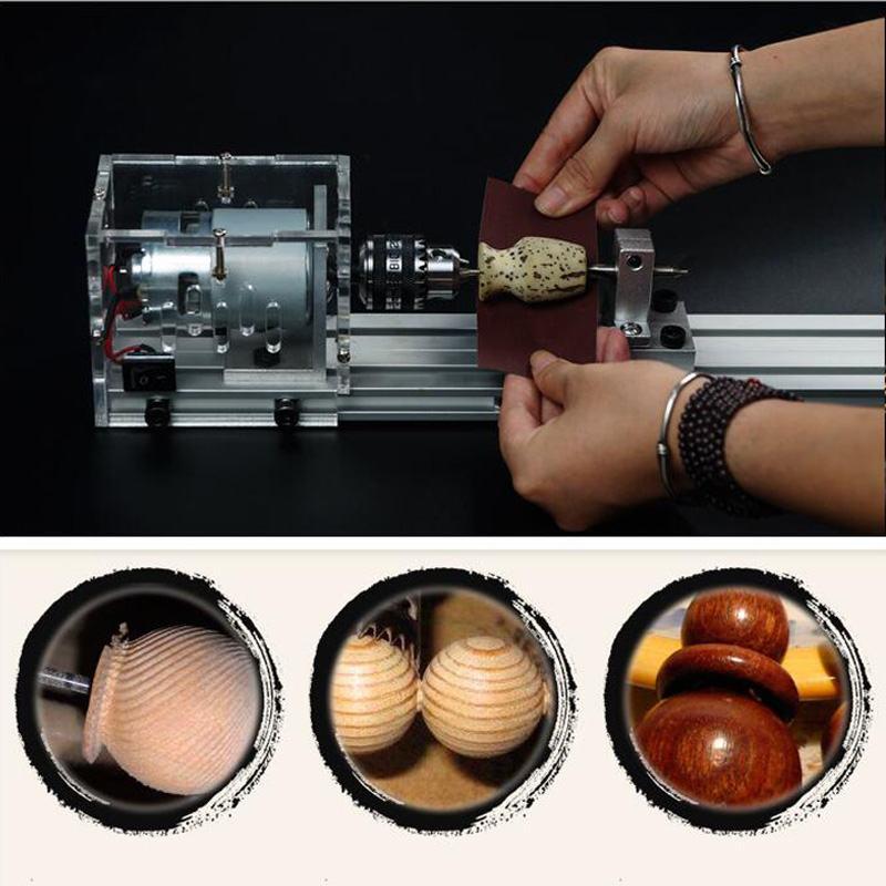 Mini bricolage Durable tour machines-outils 24 V 80 W travail du bois bouddha perle meulage perles de polissage tour à bois outil de forage