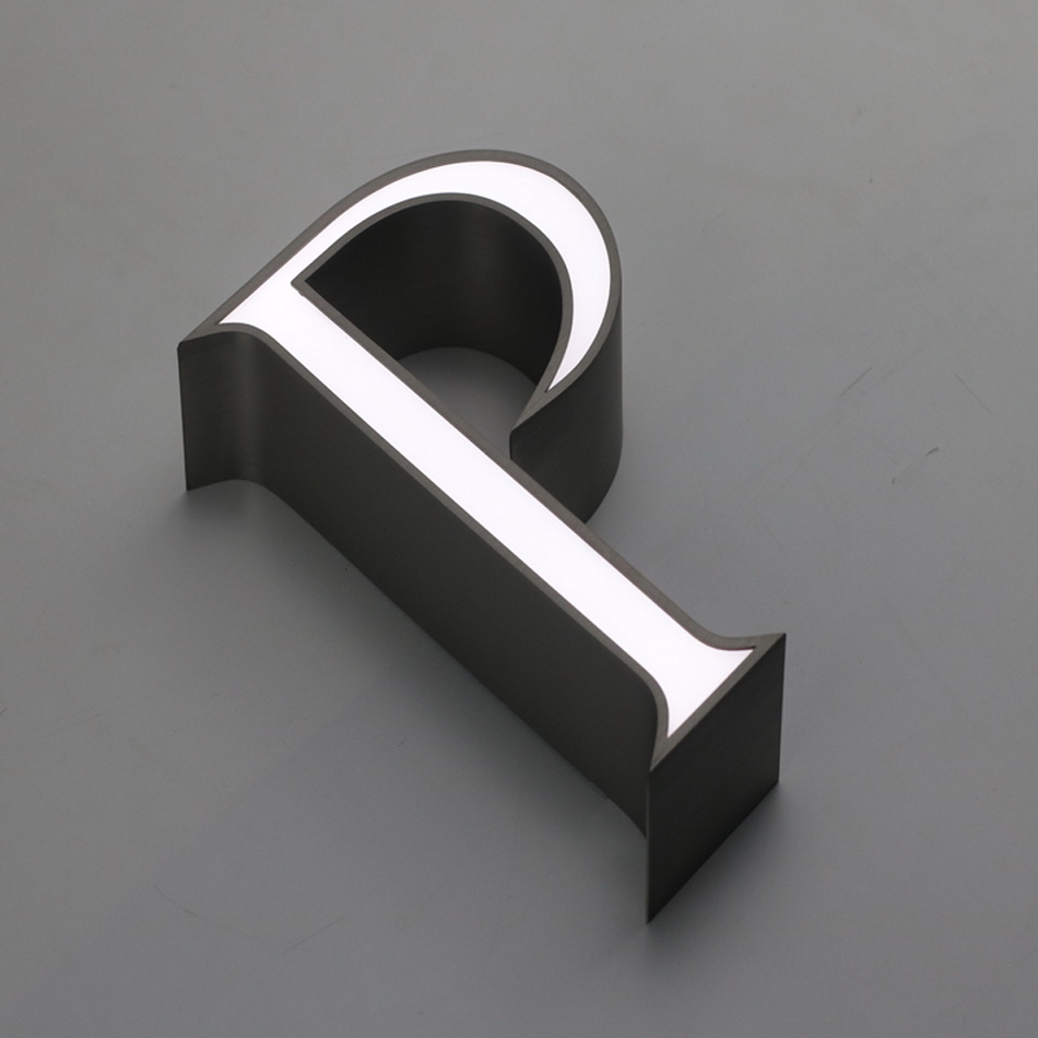 Acrylic Front Illuminated Letter Stainless Steel Side For Shop Advertising