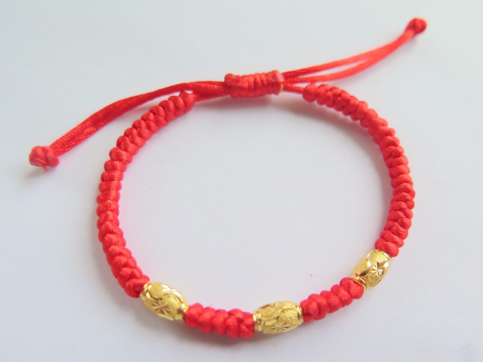999 24K Yellow Gold Bracelet Women & Men Weave With Bead 6.7999 24K Yellow Gold Bracelet Women & Men Weave With Bead 6.7