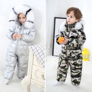 Image 2 -  30 Russian Winter Snowsuit 2020 Boy Baby Jacket 90% Duck Down Outdoor Infant Clothes Girls Climbing For Boys Kids Jumpsuit 2~5y