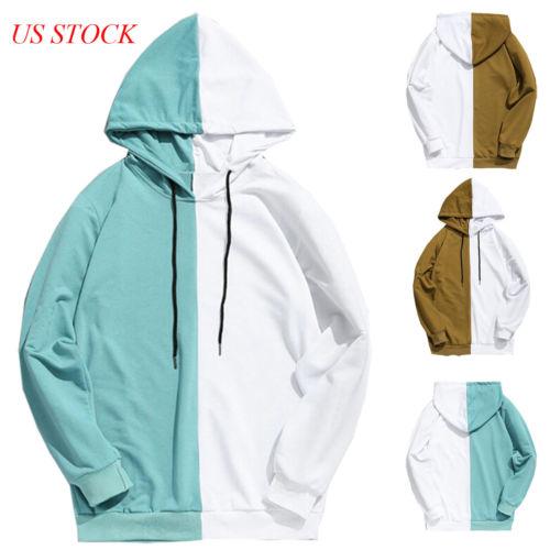 Adult Unisex Men Stitching Hoodie Cotton Hooded Jacket Jumper Basic Blank Plain
