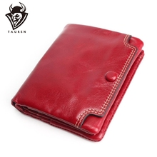 Small Oil Leather Wallet New TAUREN High Quality Genuine Leather Women Mini Wallet Coin Purse Coin Credit Card Photo Holder mesoul high quality genuine leather women mini wallet oil wax leather coin purse coin credit card holder with metal ring 8 color