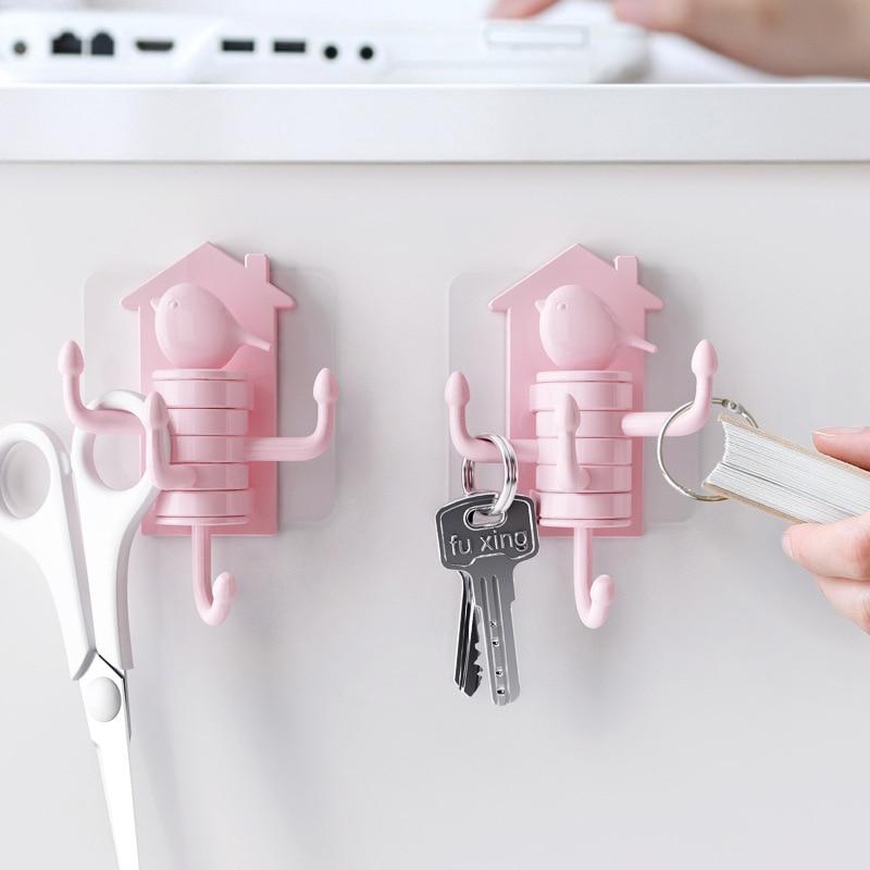 Bird Vertical Rotary Hook Multi Function Hook For Home Key Holder Wall Hook Kitchen Bathroom Hanger Adhesize Hooks