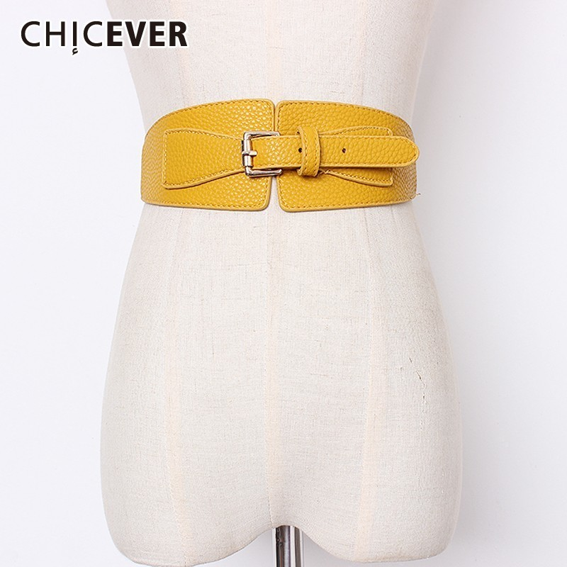 CHICEVER Summer Pu Leather Patchwork Elastic Waist Belt For Women Buckle Belts Solid Female Style 2019 Fashion New Tide