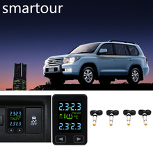 Smartour TPMS Tire Pressure Monitoring System Wireless Auto Alarm with 4 Internal Sensors for Toyota Prado tn400 wireless tire pressure monitoring tpms system monitor 4 internal sensors for renault peugeot toyota and all car free ship