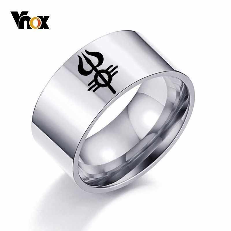 Vnox Бесплатная гравировка Trishula мужское кольцо полированная нержавеющая сталь индийский индуизм буддизм религиозная Персонализированная группа Anel