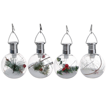 2019 Christmas Decorative Light Lower Consumption Solar Bulbs Light Xmas Tree Hanging Pendant Bulbs For Navadad Christmas Decor cheap Night Lights Rechargeable Battery ROUND Holiday Plastic oobest Atmosphere 0-5W LED Bulbs HT87364 Switch 1 2V PET plastic