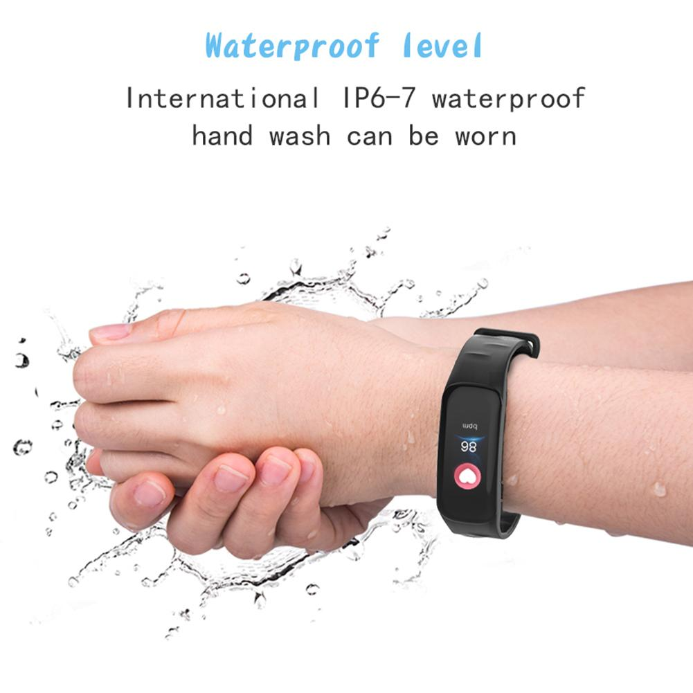 New C2 Smart Bluetooth Bracelet Large Curved Screen Upgrade Version Sports Movement Heart Rate Bracelet Color Screen Blood Press in Smart Wristbands from Consumer Electronics
