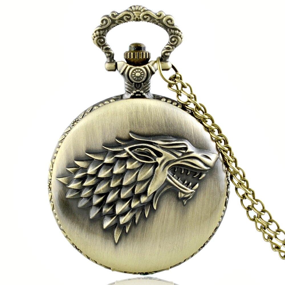 Vintage Bronze Pocket Watch-House Stark W Quartz Pocket Watch Retro Men Women Wolf Pendant Necklace Jewelry Gifts