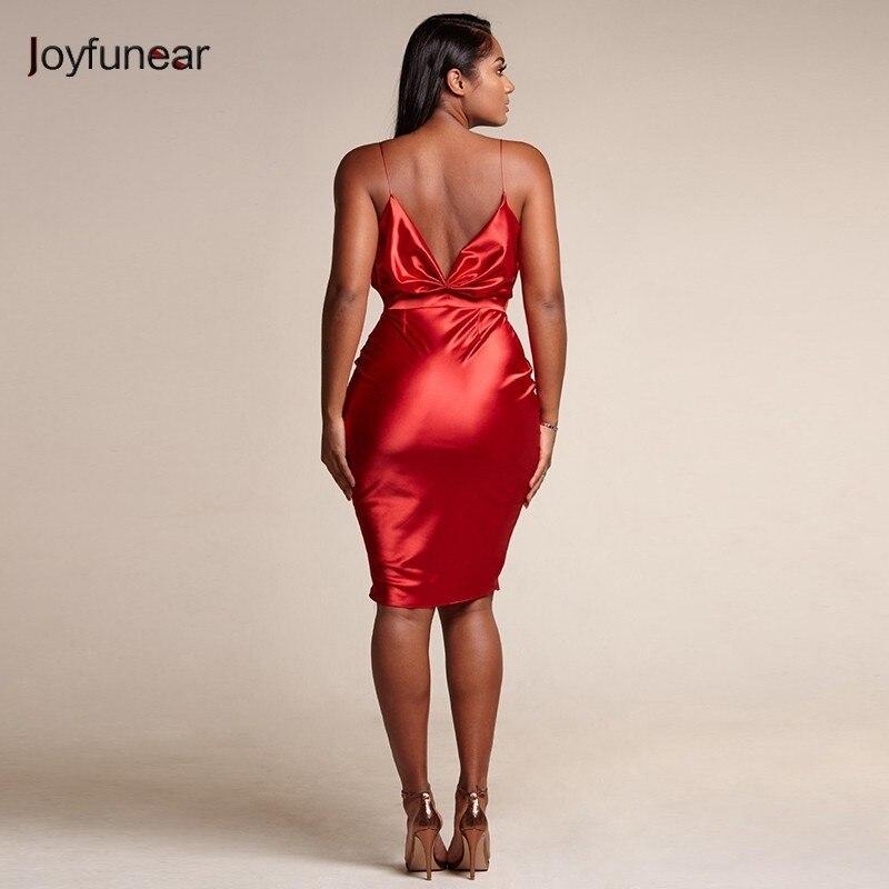 Joyfunear Fashion Backless Sexy High Waist V Neck Summer Dress Red Mini Bodycon Dress Women Party Dresses Vestidos Verano 2019