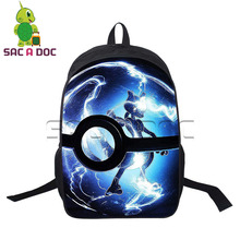 купить Pokemon Backpack Anime Mewtwo Pikachu Printing Boys Girls School Bags for Teenagers Laptop Backpack Mochila дешево