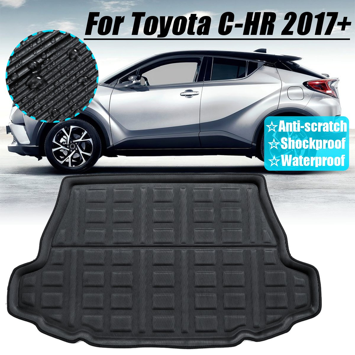 For Toyota C-HR CHR 2017+ 2018 2019 Rear Trunk Cargo Boot Liner Tray Floor Mat Floor Sheet Carpet Mud Protector Waterproof