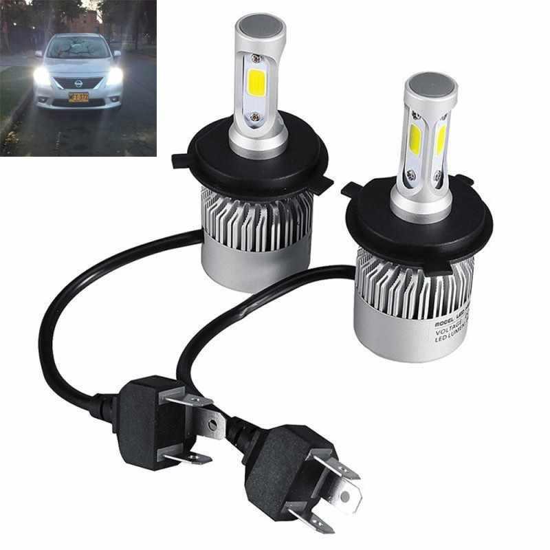 1Pair H4 160W 16000LM Hi-Lo Beam Cob Led Headlight Bulbs HB2 9003 6500K Kit