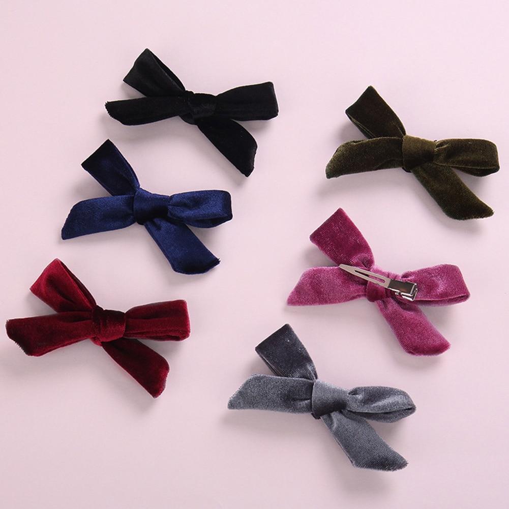 Velvet Handtied Bow Nylon Headband Or Clip For Autumn And Winter, Schoolgirl Velvet Girls Hair Accessories