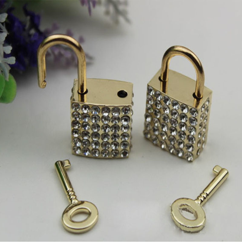 6pcs/lot Pale Golden DIY Diamond Padlock Handbags Lock Luggage Locks Hardware Metal Accessories Metal Lock Button Bag Parts