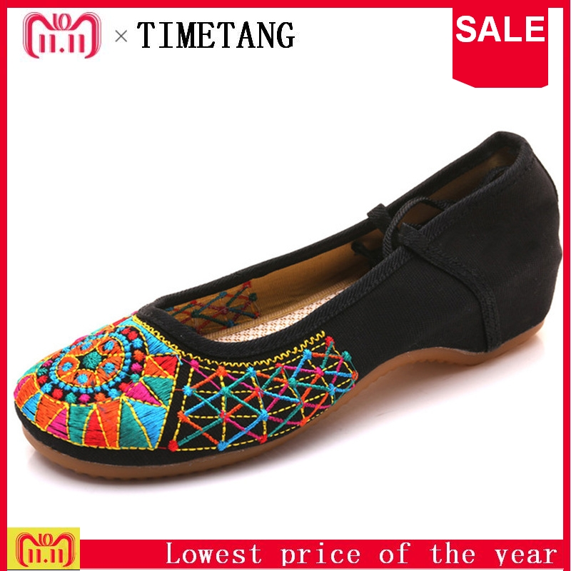 TIMETANGNew Fashion Casual Ethnic Retro Style Women's Plum Flower Embroidery Soft Sole Flat Shoes Old Peking National Cloth Shoe mix style women s shoes old peking mary jane flat heel denim flats with embroidery soft sole casual shoes size 34 41