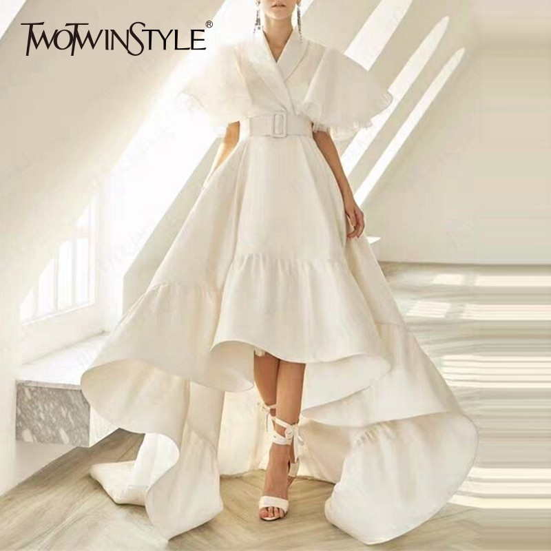 TWOTWINSTYLE Party Dresses Female V Neck Cloak Sleeve High Waist With Sashes Asymmetrical Long Dress For