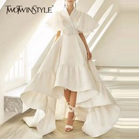 TWOTWINSTYLE Party Dresses Female V Neck Cloak Sleeve High Waist With Sashes Asymmetrical Long Dress For Women 2019 Spring