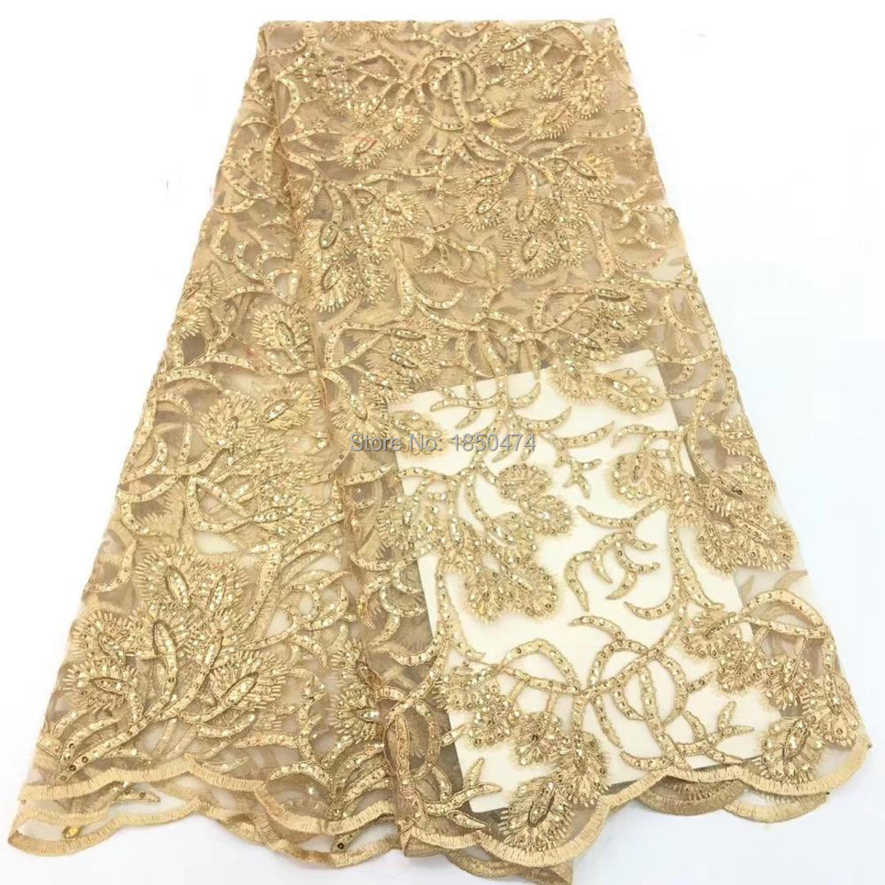 Gold High Quality African Lace Fabric Net 2019 French Lace Fabric Tulle With Sequin Gold Nigerian