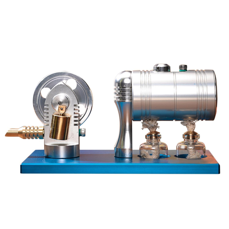 Métal Bootable moteur à vapeur modèle rétro Air chaud Stirling moteur modèle avec chauffage chaudière alcool brûleur loisirs cadeaux