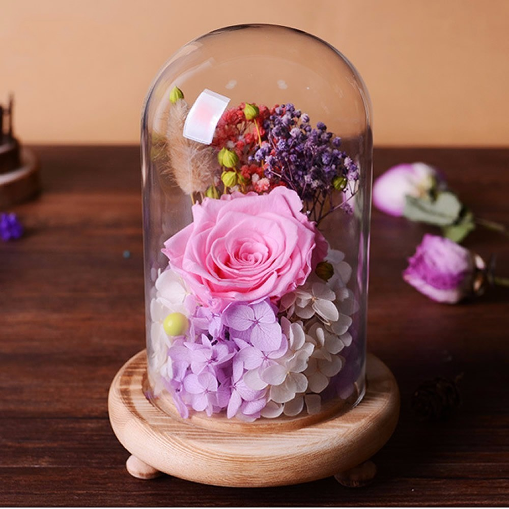 Süße Konservierte Blume Geschenk Valentines Tag Geschenk Geburtstag Geschenke Natürliche Getrocknete Blumen Rose Präsentieren Mit Glas Abdeckung Wohnkultur
