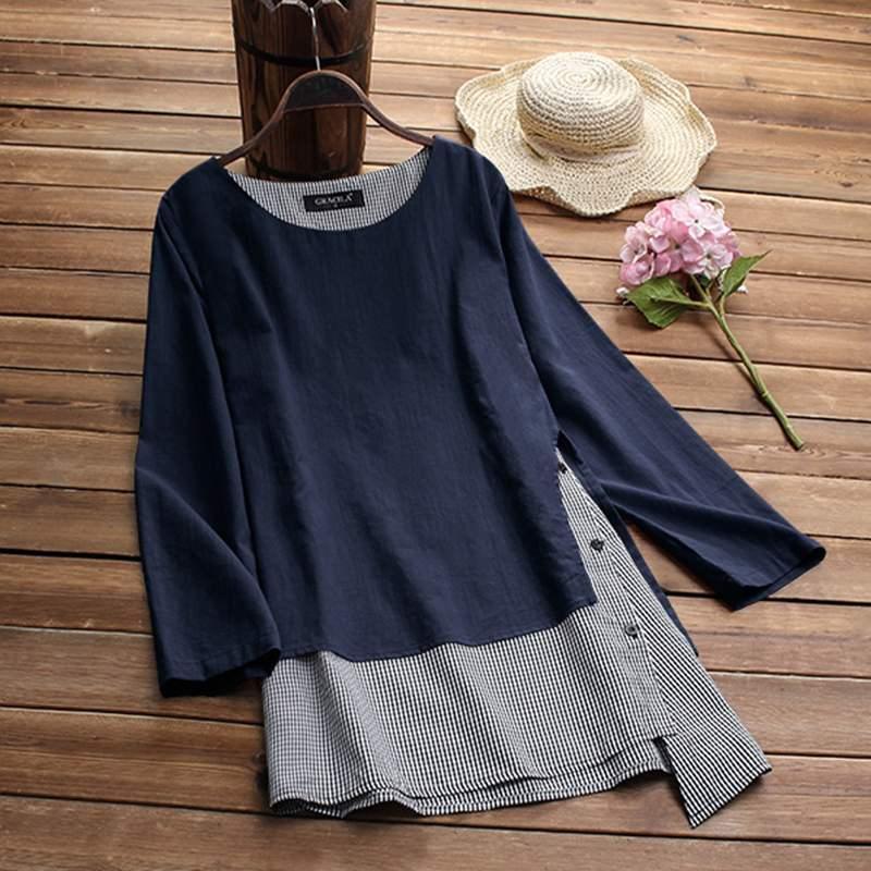 Womens Fake 2 Pieces Blouse 2019 Autumn Long Sleeve Patchwork Shirt Ladies Irregular Blouse Casual Top Blusas Chemise Plus Size