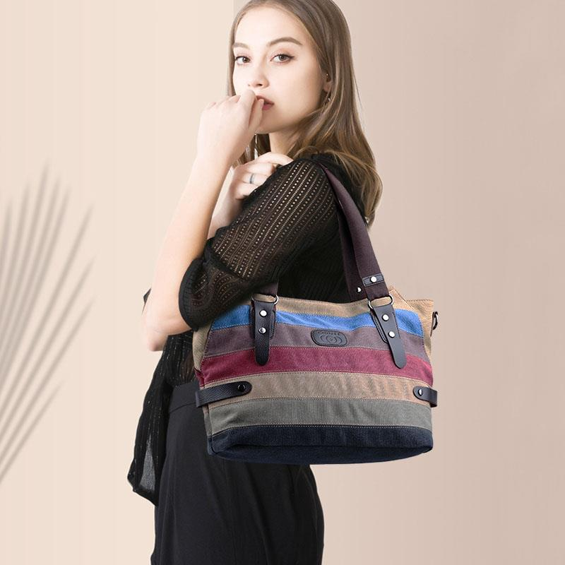 Casual Colorful Stripe Female Handbag Tote Fashion Large Capacity Canvas Women Shoulder Messenger Bag Bolsa Feminina