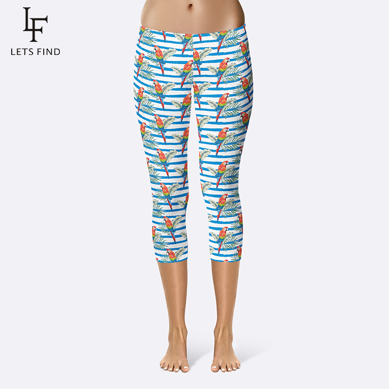Fashion Summer Women Capri Leggings Bird Printing Mid-Calf 3/4 Mid Waist Plus Size Soft Pants High Street Leggings