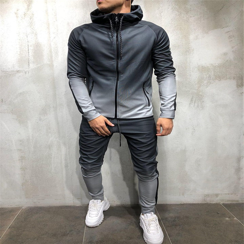 Fashion Men Gradients Tracksuit Clothing Sets Long Sleeve Hoodies + Color Blocking Sweatpants Sports Runing Gym Clothes Set
