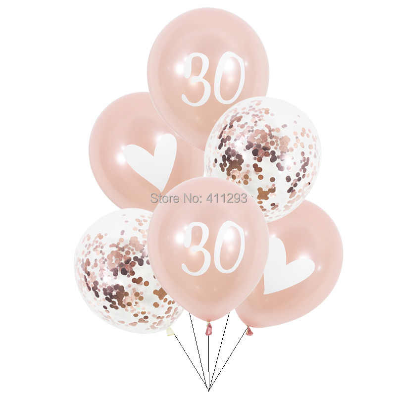 Rose Gold Birthday Balloons 16 18 20 21 30 40 50 60th Balloon 21st Girl