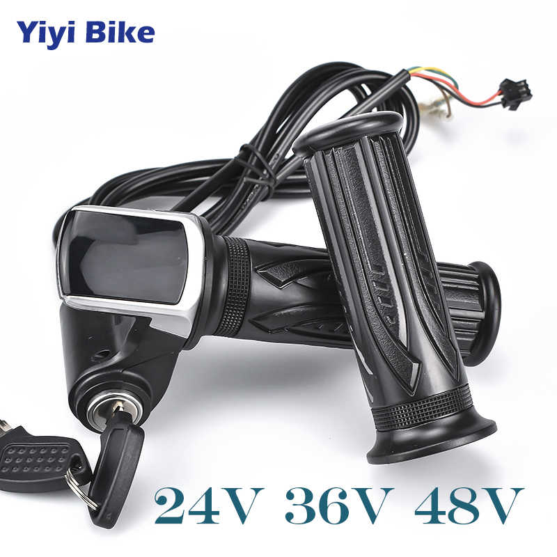 Free Shipping Wuxing e bike Twist Throttle For Electric Bike Throttle 24V 36V 48V Gas Handle Throttle LCD Display Lock Key  kiti