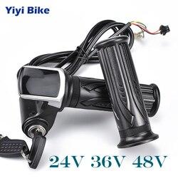 Darmowa wysyłka Wuxing e rower Twist przepustnicy dla rower elektryczny przepustnicy 24V 36V 48V uchwyt gazu przepustnicy wyświetlacz LCD zamek na klucz kiti w Akcesoria do rowerów elektrycznych od Sport i rozrywka na