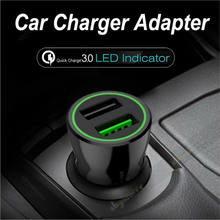 LED Display Quick Charge 3.0 Car Charger For Iphone Xs Max X Ipad Xiaomi Mi 9 Huawei P30 FCP Car Charger Dual USB Fast Charging(China)