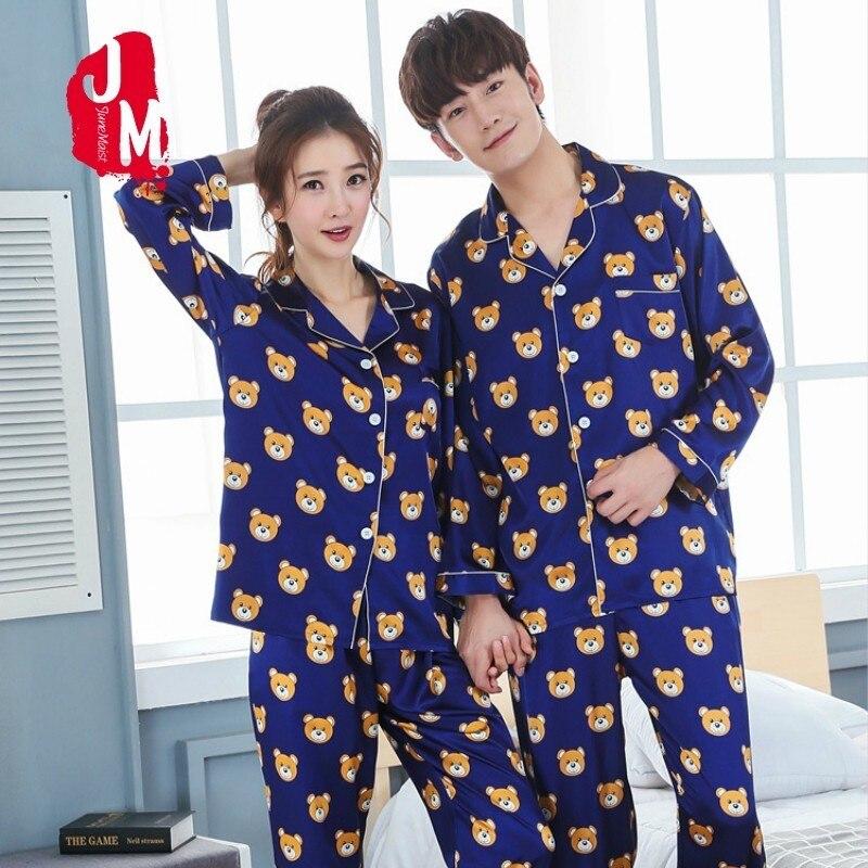 Lovers Pyjamas Women Full Sleeve Silk Satin Pajama Sets Cartoon Bear Couple Pajamas For Women Sleepwear Sets Pijama Mujer XXXL