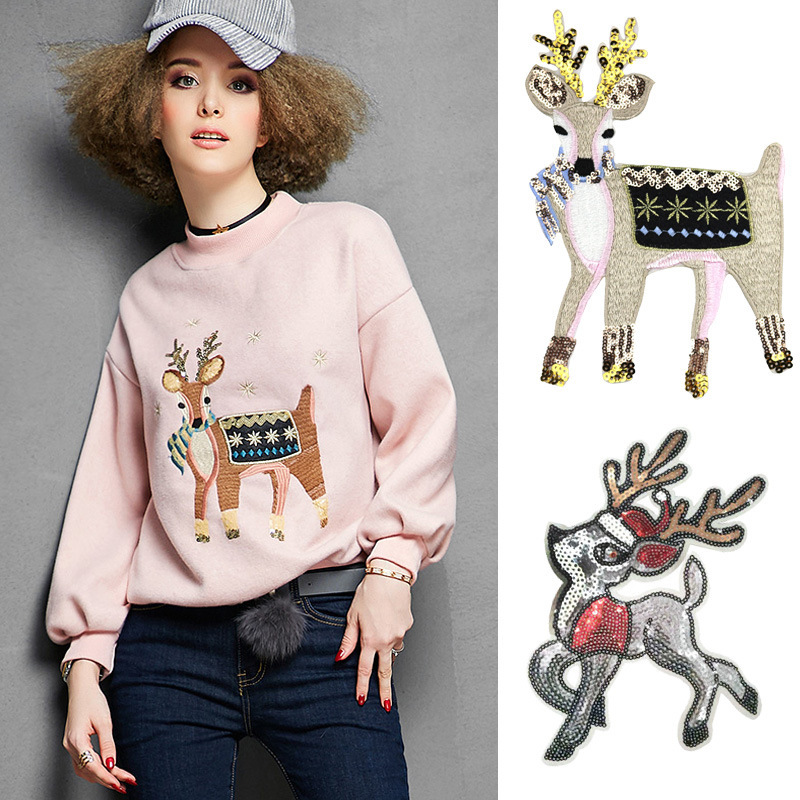 Cartoon Sequins Christmas <font><b>Deer</b></font> Embroidery Appliques Iron On <font><b>Patches</b></font> for Clothing Elk Head Stickers Cute Animal Badges Parches image