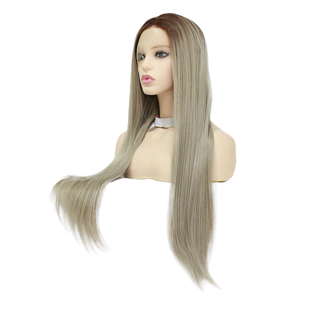 26 inch Synthetic Lace Front Wigs Heat Resistant Full Wig Long Straight Hair Gray 26 inch synthetic lace front wigs heat resistant full wig long straight hair brown