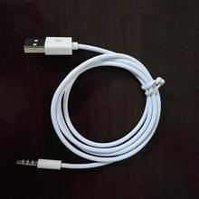 For car 1 m white color 3.5mm AUX Audio Plug Jack to USB 2.0 Male Charge Cable Adapter AUX cable