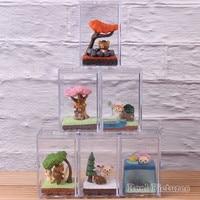 Rilakkuma Sea Batting Miniature Landscape Seasonal Terrarium PVC Collectible Figure Snow Play Action Model Toy 6pcs/set
