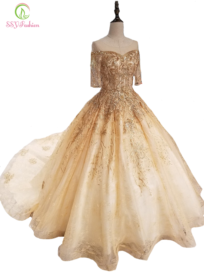 SSYFashion New High-end Gold Evening Dress Luxury Short Sleeved Court Train Lace Appliques Prom Party Gown Custom Formal Dresses