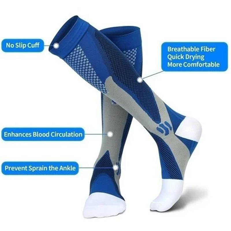 EU 39-47 Men Women Compression Socks Fit Knee High Stockings For Sports Black Blue Socks Anti Fatigue Pain Relief