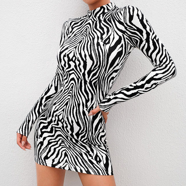 Women s Bandage Bodycon Long Sleeve Cocktail Club Mini Dress Bag Hip Slim Zebra Pattern Turtleneck Dress